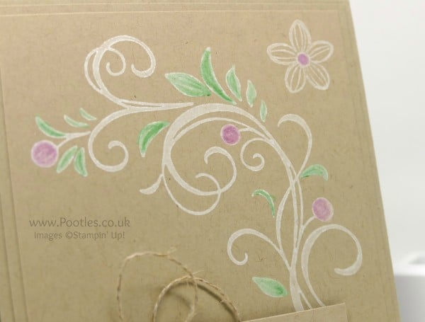 Stampin' Up! Demonstrator Pootles - Falling Flowers, inked and coloured Close Up