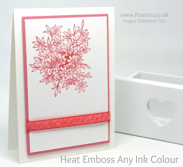 Stampin' Up! Demonstrator Pootles - How To Heat Emboss Any Ink Colour Flirty Flamingo