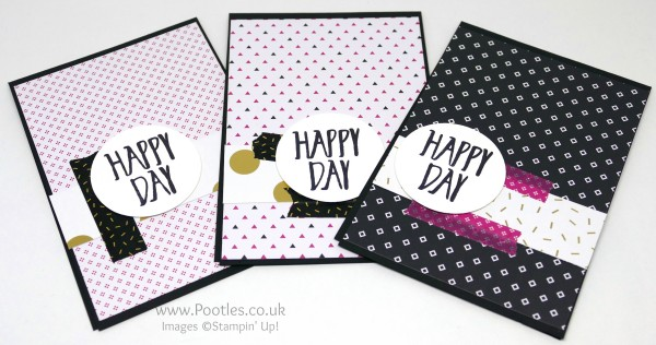 Stampin' Up! Demonstrator Pootles - Pop of Pink Customer Thank You Cards Black Card Blank
