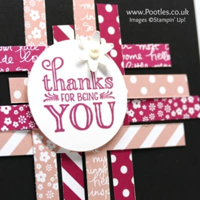 Strips of Stampin' Up! paper and a little Me = Grateful stamping!