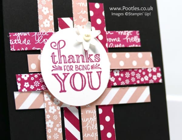 Stampin' Up! Demonstrator Pootles - Strips of Stampin' Up! paper and a little Me = Grateful stamping! Close up