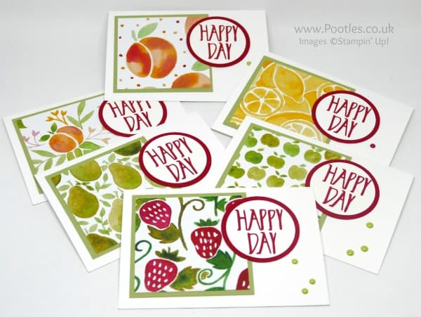 Stampin' Up! Demonstrator Pootles - Fruit Stand Perfectly Wrapped Notecards all 6