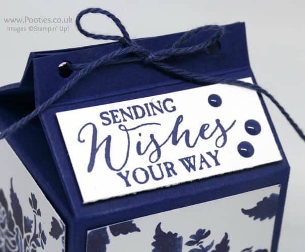 Stampin' Up! Demonstrator Pootles - Blue Floral Fat Milk Carton using Floral Boutique DSP Butterfly Basics