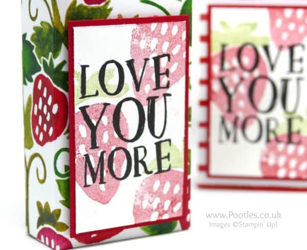 Stampin' Up! Demonstrator Pootles -Pretty Strawberry Bag using Fruit Stand Paper Stamping Detail