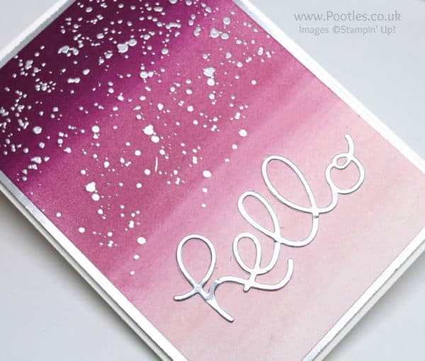 Stampin' Up! Demonstrator Pootles - Sponge Brayered Hello You Silver Detail
