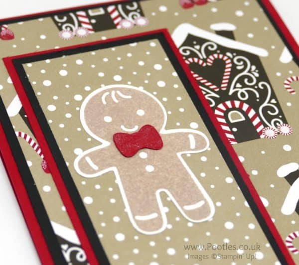 Stampin' Up! Demonstrator Pootles - Candy Cane Lane and the Cookie Cutter Gingerbread Man Sparkly Bow Tie