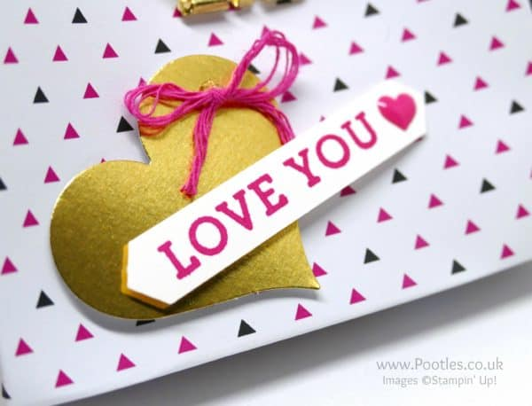 Stampin' Up! Demonstrator Pootles - Pop of Pink Love Heart Bag Punch Detail