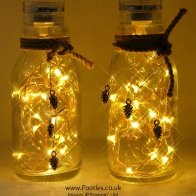 Pootles Advent Countdown 2016 #12 Milk Bottle Pine Cone Lights
