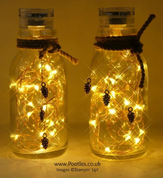 Pootles Advent Countdown 2016 #12 Milk Bottle Pine Cone Lights Lit