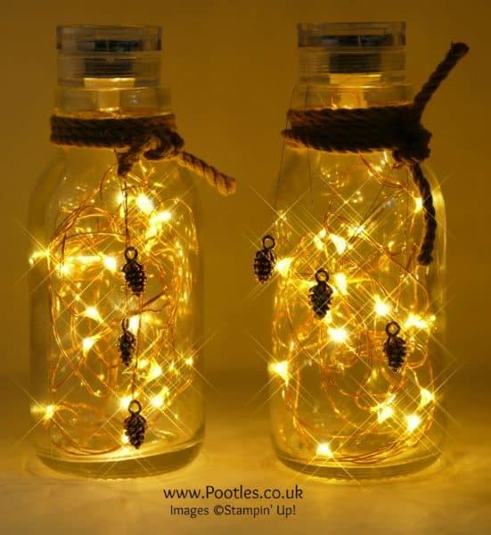 Pootles Advent Countdown 2016 #12 Milk Bottle Pine Cone Lights Lit