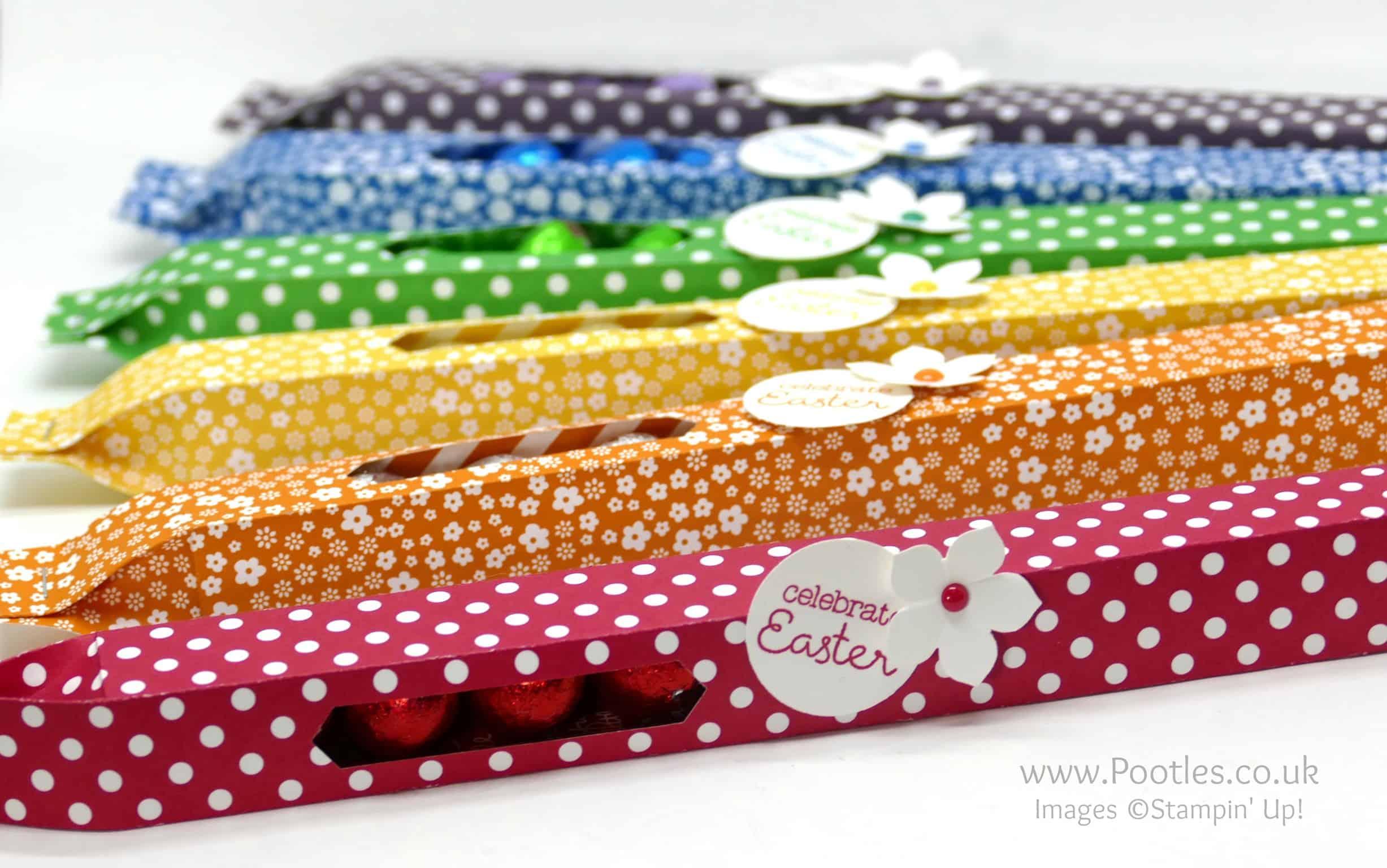 Long Slender Chocolate Egg Boxes using Stampin' Up! DSP