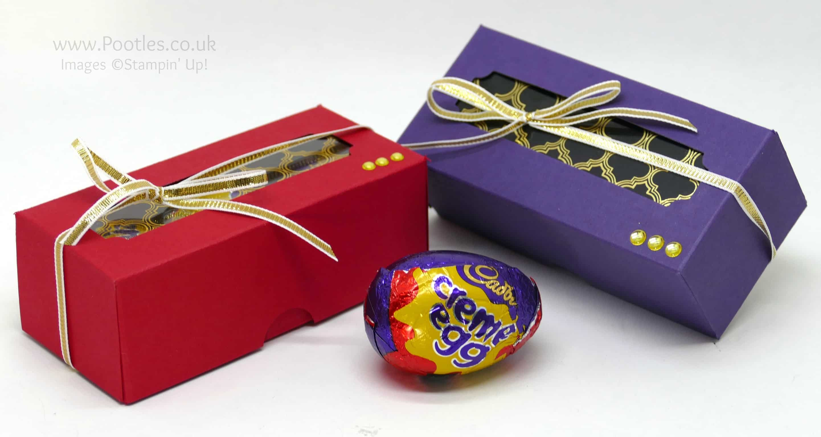 Regal Triple Creme Egg Box using Stampin' Up! Foil Window Sheets
