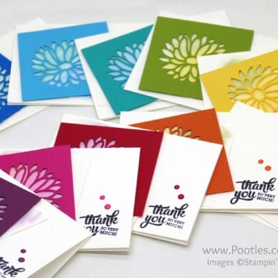 Customer Thank You Cards using Stylish Stems Framelits and a Rainbow!