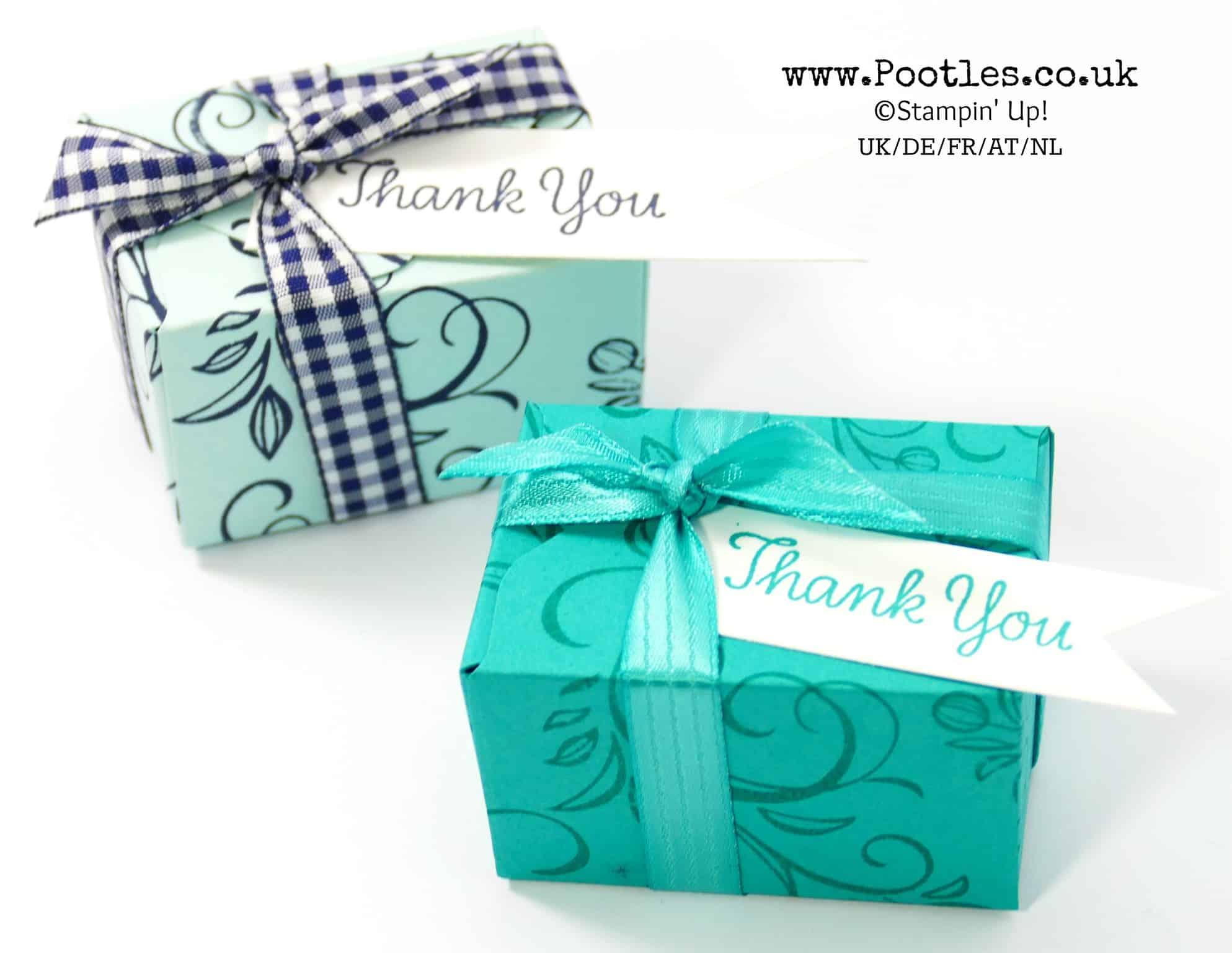 Falling Flowers Blue on Blue Envelope Punch Board Box