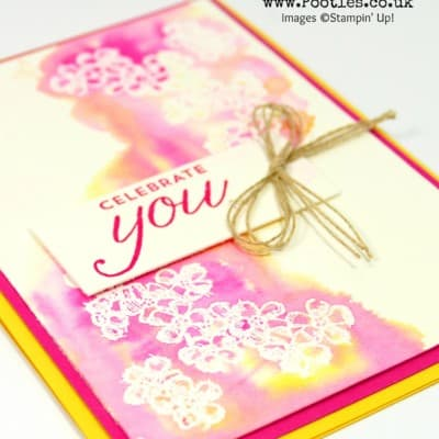 Messy Watercolour Heat Emboss Resist with Birthday Blossoms