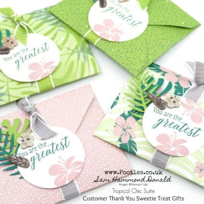 Tropical Chic Envelope Punch Board Customer Thank You Gifts