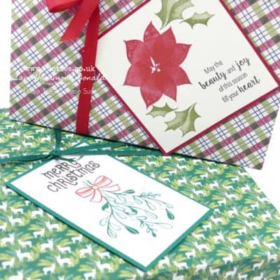 8 x 8 x 2 inch Lidded Christmas Box using Stampin' Up! Supplies