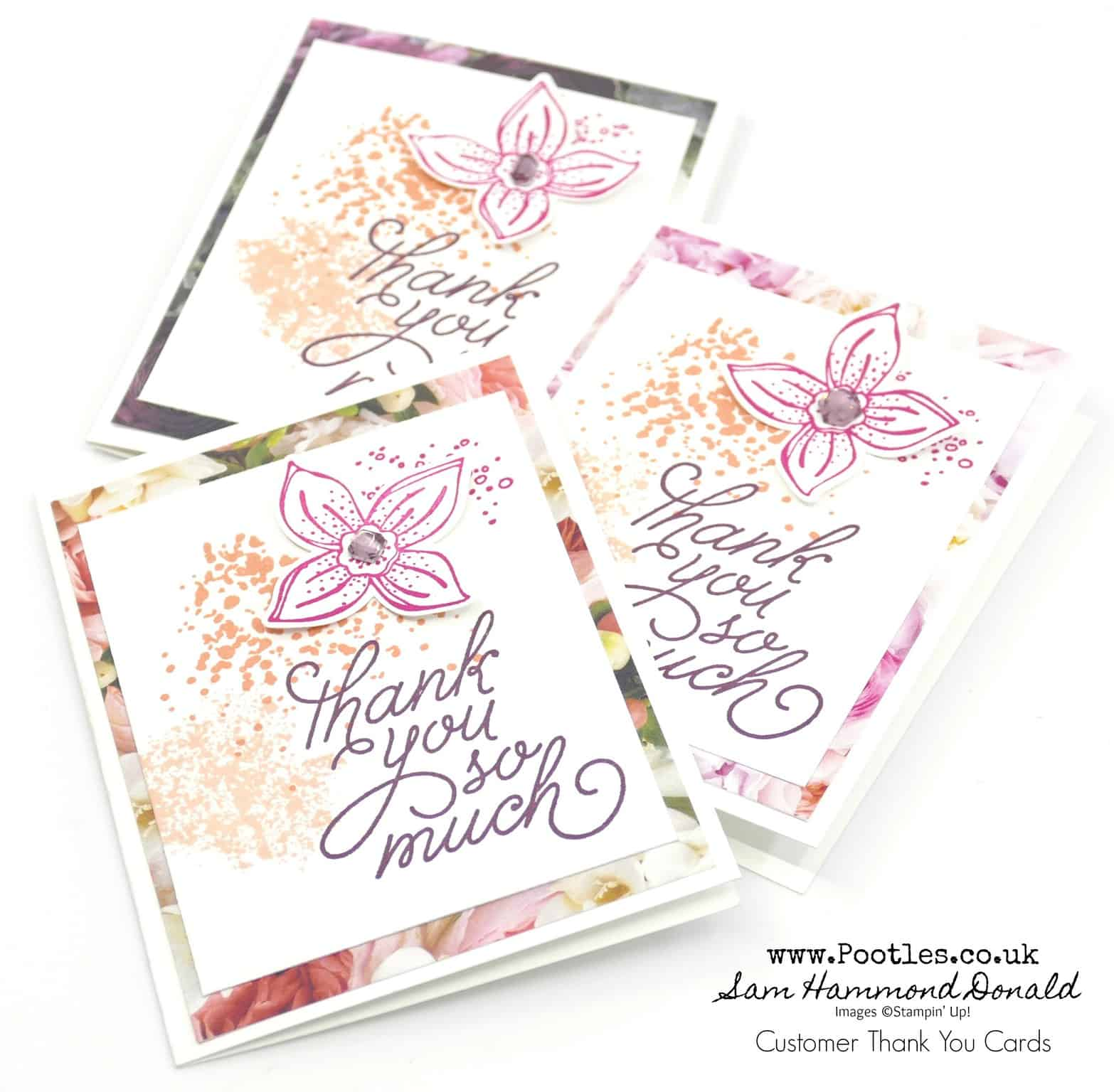 1 Stampin Up Demonstrator Pootles Customer Thank You Cards With