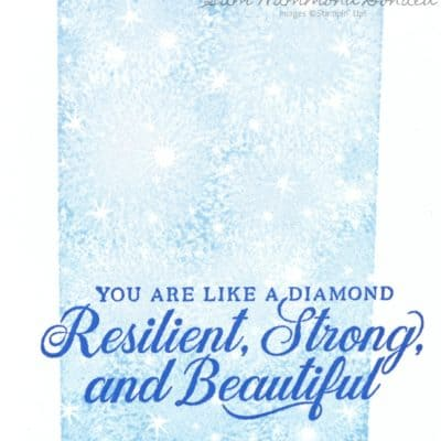 Strong and Beautiful Blue Card with Bokeh Dots