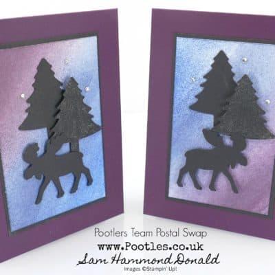 Pootlers Team Postal Swaps – Merry Moose Sponged and Glittered