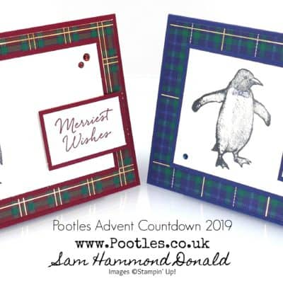 Pootles Advent Countdown 2019 #14 Playful Penguin Plaid Card Tutorial