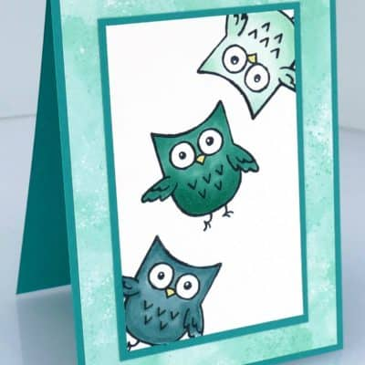 Hoot Hoot Happy Blends Card in Blues