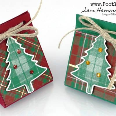 Teeny Tiny Triangular Tree Treat using Wrapped in Plaid