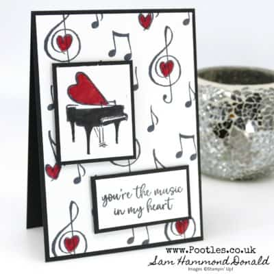 Music From The Heart Monochrome Marker Card