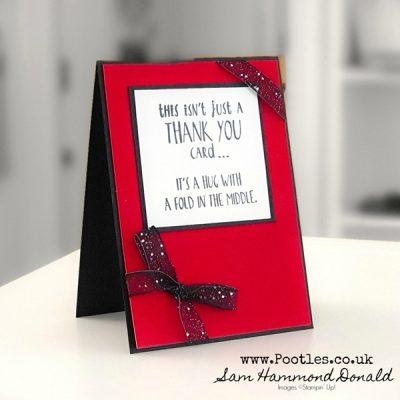 Many Thanks Hug Card with Red Velvet Paper