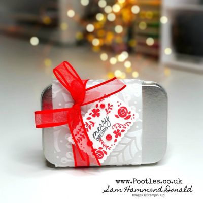 New Rectangle Tin, Gift Wrapped in Flocked Vellum with Festive Post