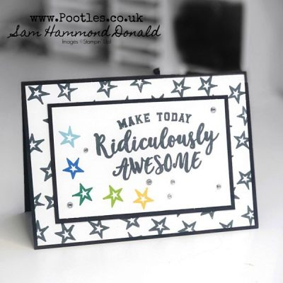 Quick and simple black and white card with a pow pop of colour!