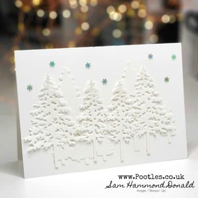 Simply Snowy Christmas Card using Pine Woods Dies