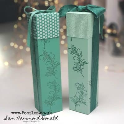 Tall Hand Stamped Lidded Box using Joyful Holly