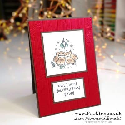Adorable Christmas Card using Have a Hoot with Pinewood Planks